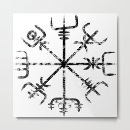 Vegvísir - Ancient  Icelandic Compass [Black | Distressed] Metal Print