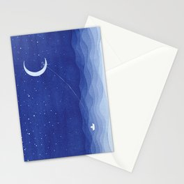 Follow the moon, watercolor blue ocean sea sailboat Stationery Cards
