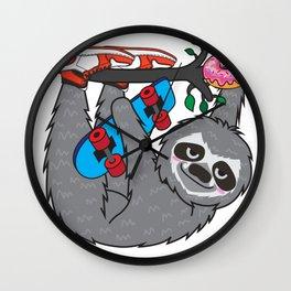 Skater Sloth and the donuts rain Wall Clock