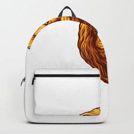 Golden Lion Head Backpack