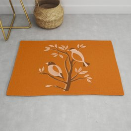 Burnt Orange Mid Century Birds On Branches Rug