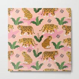 Vintage Tiger Print Metal Print