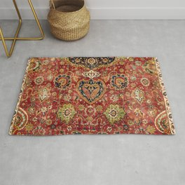 Indian Boho II // 16th Century Distressed Red Green Blue Flowery Colorful Ornate Rug Pattern Rug