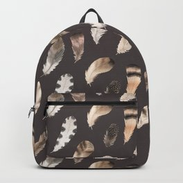 Beautiful Watercolor Feathers on Grey in Cream No. 2 Backpack