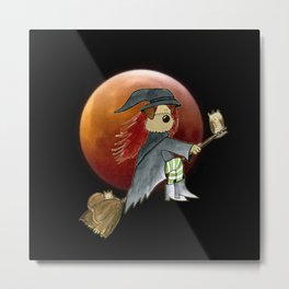 Blood Moon Witch Dog - Funny Photography and Illustration Montage Metal Print