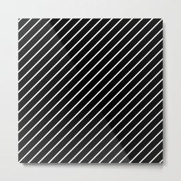 Black And White Diagonal Lines Metal Print