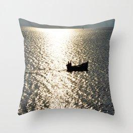 sunset silver Throw Pillow