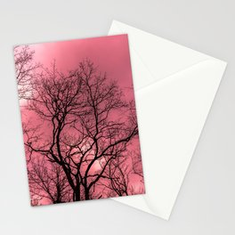 Psychedelic forest, mystical pink sky Stationery Cards