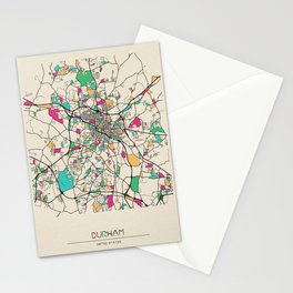 Colorful City Maps: Durham, North Carolina Stationery Cards