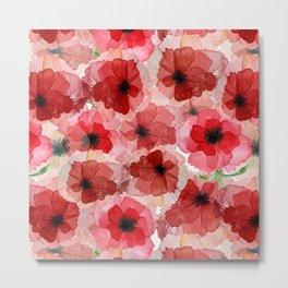 Pressed Poppy Blossom Pattern Metal Print