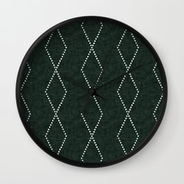 geometric diamonds - evergreen Wall Clock