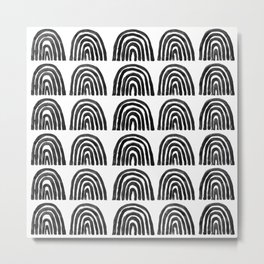 Black & White Boho Rainbows Metal Print