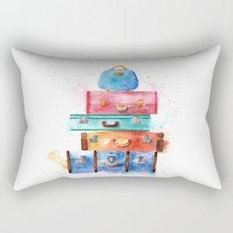 Watercolor Suitcases Illustration Art Rectangular Pillow
