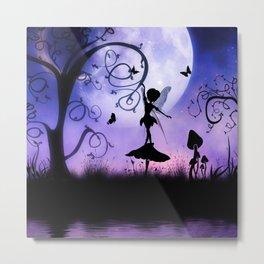 Cute fairy dancing in the night Metal Print