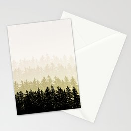 Fading Pine Tree Layers Olive Green Taupe Stationery Cards