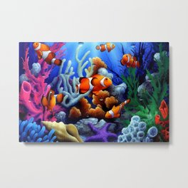 Coral Reef and Clownfish Metal Print