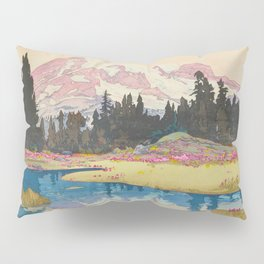 Mount Rainier Vintage Beautiful Japanese Woodblock Print Hiroshi Yoshida Pillow Sham