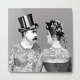 Tattooed Victorian Lovers | Tattooed Couple | Vintage Tattoos | Victorian Tattoos | Victorian Gothic Metal Print