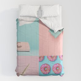 Pastel Pink and Blue/Vintage Rotary Dial Telephone/Retro Car/Sparkly Unicorn/Colorful Donuts Comforters