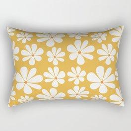 Floral Daisy Pattern - Golden Yellow Rectangular Pillow