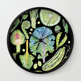 Harvest of Green - Black Wall Clock