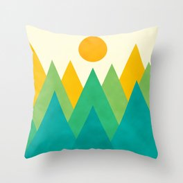 Modern Abstract Fresh Geometric Mountain Landscape with Rising Sun in Yellow, Green and Blue Colors, Retro Mountains Print Throw Pillow
