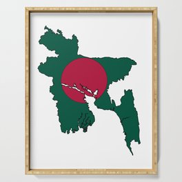Bangladesh Map with Bangladeshi Flag Serving Tray