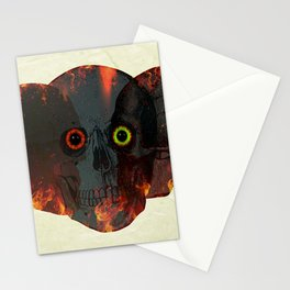 Demon Skull On Fire Stationery Cards