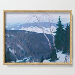 Clarence Gagnon - Winter Solitude - Canada, Canadian Oil Painting - Group of Seven Serving Tray