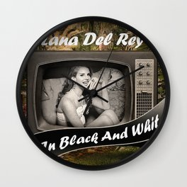 TV in Black and White Wall Clock