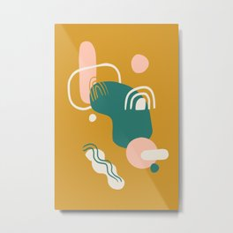 Abstract Party in Gold Metal Print