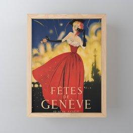 altes Plakat fetes de geneve fetes de geneve Framed Mini Art Print