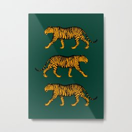 Tigers (Dark Green and Marigold) Metal Print