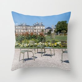 Chairs in Luxembourg Gardens - Paris Throw Pillow