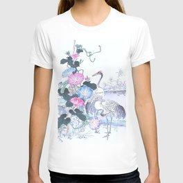 Kono Bairei - Couple Of Cranes And Morning Glory Flowers - Vintage Japanese Woodblock Print Art  T-shirt
