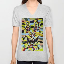 Watercolor Painting Crazy Clown  Unisex V-Neck