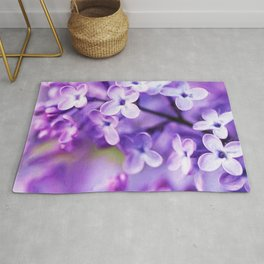 Watercolor Lilac Blossoms Rug