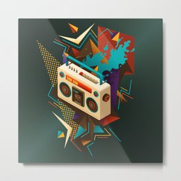 Bust Out The Jams Retro 80s Boombox Splash Metal Print