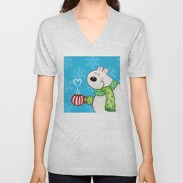 Hot Cocoa Polar Bear Unisex V-Neck