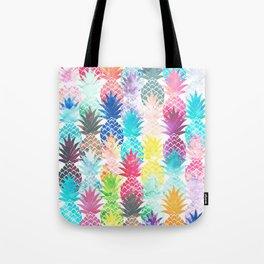 Hawaiian Pineapple Pattern Tropical Watercolor Tote Bag