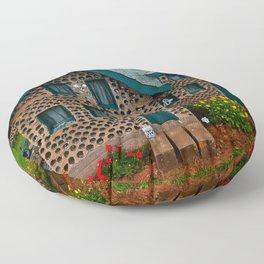 Green Gabled Bottle House Floor Pillow