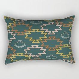 Southwest Azteca II - Geometric Pattern in Mustard,  Blush, Rust, Gray, and Lake Blue Rectangular Pillow