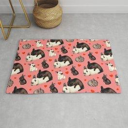 Valentine Rabbits Multiply Pattern - Pink Rug