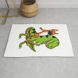 French Bulldog Riding T-Rex Dinosaur Rug