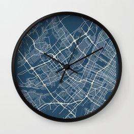 Laval Blueprint Street Map, Laval Colour Map Prints Wall Clock