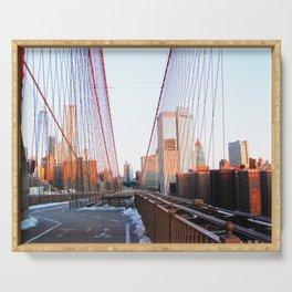 Brooklyn Bridge at Dawn Basked in Peach Serving Tray