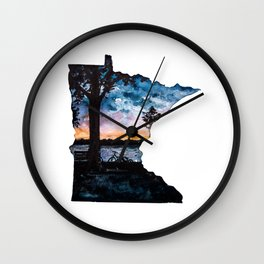Minnesota State Silhouette Summer Wall Clock