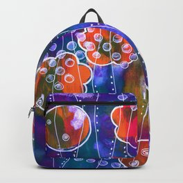 Flower Circles Red Pattern Backpack