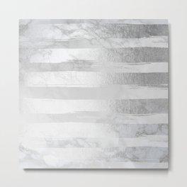Silver Striped Trendy White Grey Marble III Metal Print