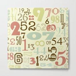 Retro Numbers Metal Print